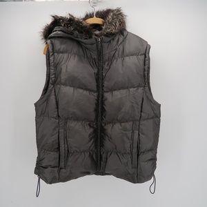 Weatherproof Gray Puffer Full Zip Vest with Hood